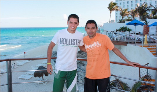 Javier Hernandez and Ramon Morales at the Royal Sunset Hotel