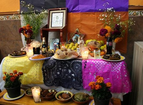 Traditional food in the altar.