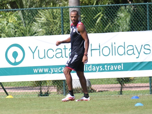 Thierry Henry focused during the training