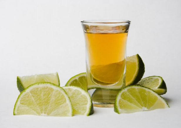 Mexican tequila with lime