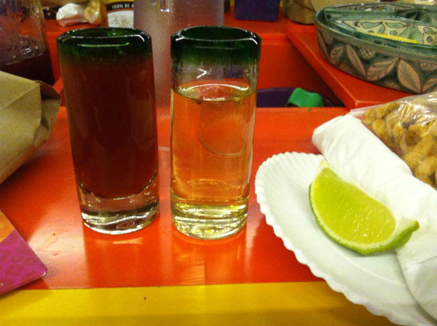 tequila shots in Xoximilco Cancun